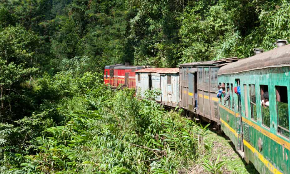 Vintage train traveling through jungle, Fianarantsoa-Cote Est