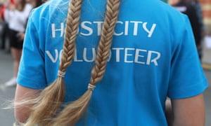 A fan zone volunteer in St Petersburg