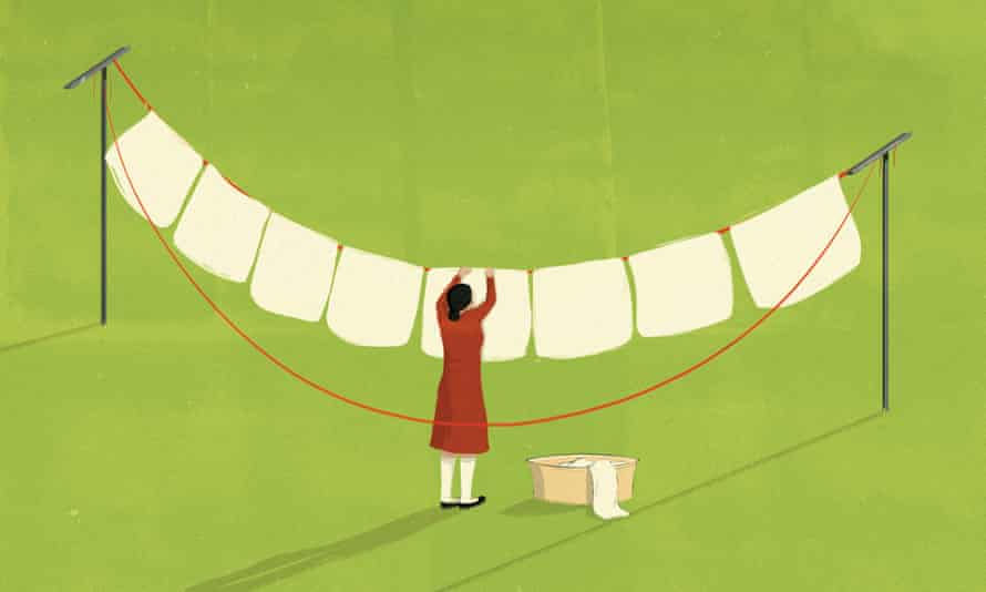 Illustration of woman hanging out washing by Andrea Ucini