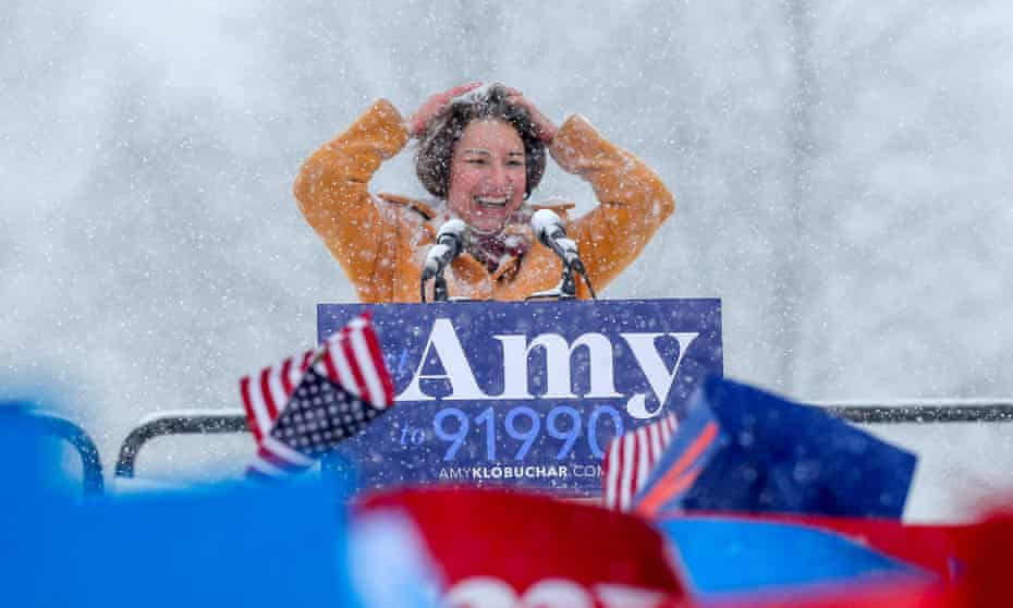 Senator Amy Klobuchar, who announced her presidential run in a snowstorm, has toed a centrist line out of step with the apparent progressive mood in the Democratic party.