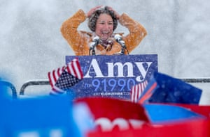 Minnesota, U.S.U.S. Senator Amy Klobuchar brushes snow from her hair after announcing her candidacy for the 2020 Democratic presidential nomination in Minneapolis.