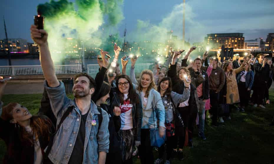 A group of Irish people attend a rally in support of the yes campaign in Wapping, east London