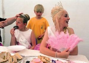 2013 Queen of Great Bentley, Essex, Abbie Bennett, hosts the Queens Tea with Junior Princess Hannah Langford.