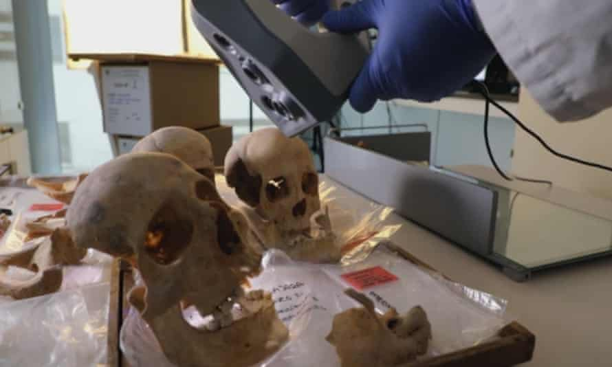 A scientist controls a 3D scanner over the alleged remains of Christopher Columbus and family members, at Granada University, Spain.