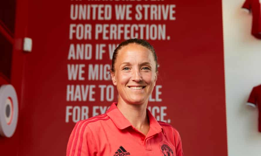 Casey Stoney at Manchester United's main Carrington training complex