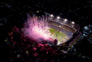 An aerial view of La Bombonera as fireworks welcome the teams to the pitch before the Copa Libertadores semi-final second leg.