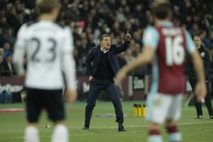 Slaven Bilic shouts out instructions from the touchline.