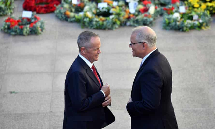 Leader of the Opposition Bill Shorten and Prime Minister Scott Morrison at the Last Post Ceremony at the Australian War Memorial in Canberra, Monday, February 11