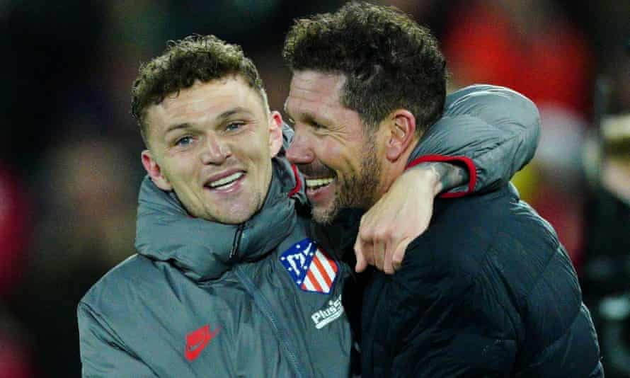 Kieran Trippier (left) and Diego Simeone celebrate after beating Liverpool at Anfield on Wednesday night.