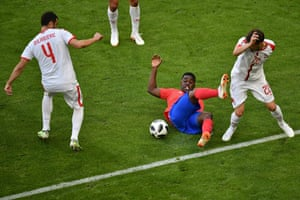 Costa Rica's forward Joel Campbell in the thick of things.