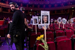 Seat placement signs during rehearsals