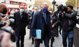 Michel Barnier arriving for a meeting in London on 10 November 2020