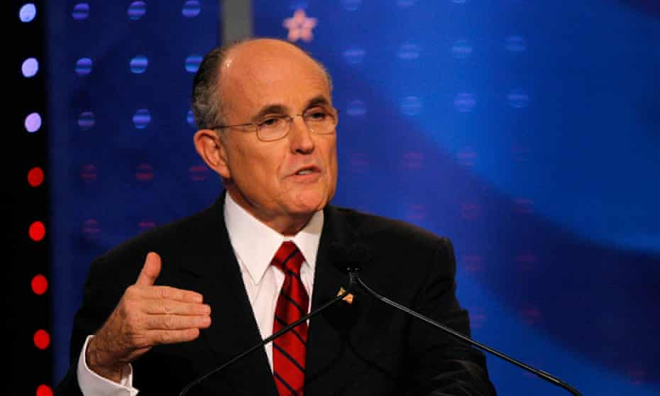 Rudy Giuliani in January 2008. Giuliani maintained his polling lead throughout most of 2007, and raised the most money, but John McCain became the Republican nominee.