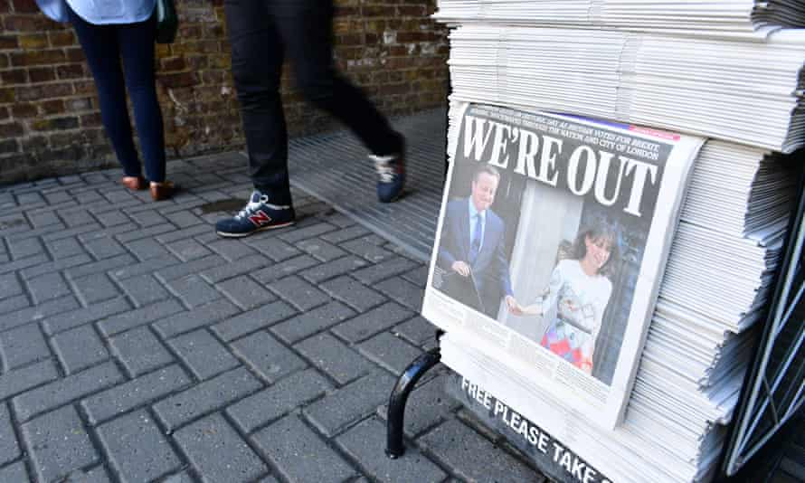 London Evening Standard showing headline 'We're out.'