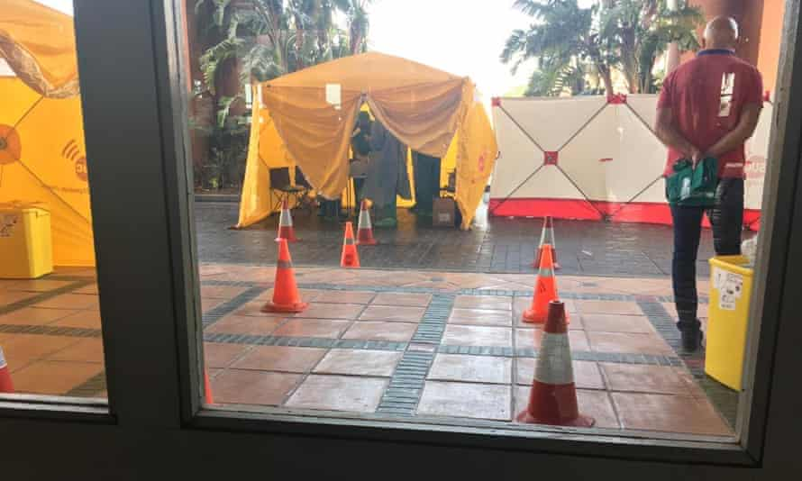 Tents and staff outside Tenerife hotel