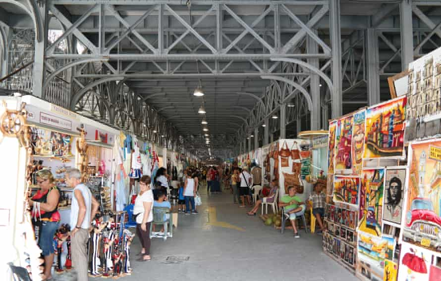 A former shipping warehouse turned into an art and souvenir market.