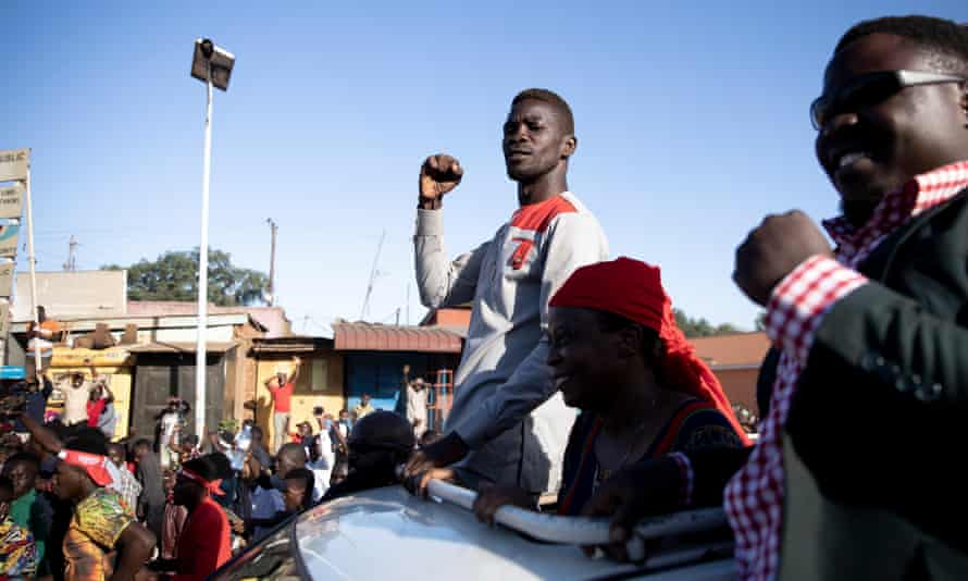 Bobi Wine passes through Mukono, on the outskirts of Kampala, during his presidential campaign.