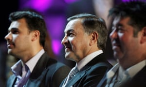 The Russian real estate developer Aras Agalarov, centre, stands with his son, singer Emin Agalarov, and publicist Rob Goldstone, right, during a news conference with Donald Trump (not in photo) following the 2013 Miss USA pageant in Las Vegas, Nevada.
