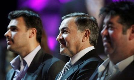Aras Agalarov with his son, singer Emin, and publicist Rob Goldstone in Las Vegas.