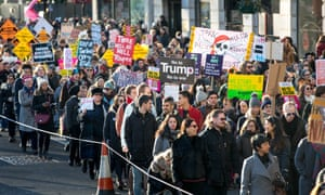 Demonstrators in London join a global protest against the Trump administration.