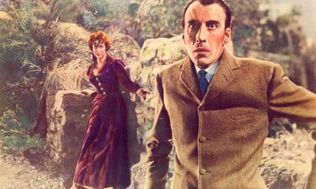 Marla Landi and Christopher Lee in the 1959 film of The Hound of the Baskervilles.