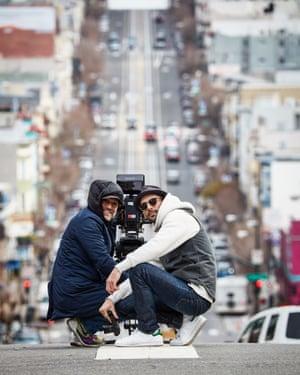JR and Roberto de Angelis at work in San Francisco.