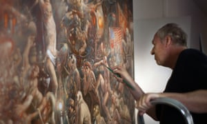 Giddy clutter and carnival … Peter Howson at work