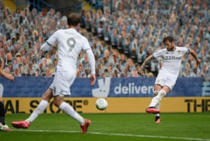 Liam Cooper scores Leeds's third goal against Stoke City at Elland Road on 9 July.