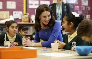 Brent, UK: The Duchess of Cambridge meets Year 3 pupils at Roe Green junior school