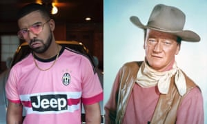 Rapper Drake takes his pink lead from John Wayne