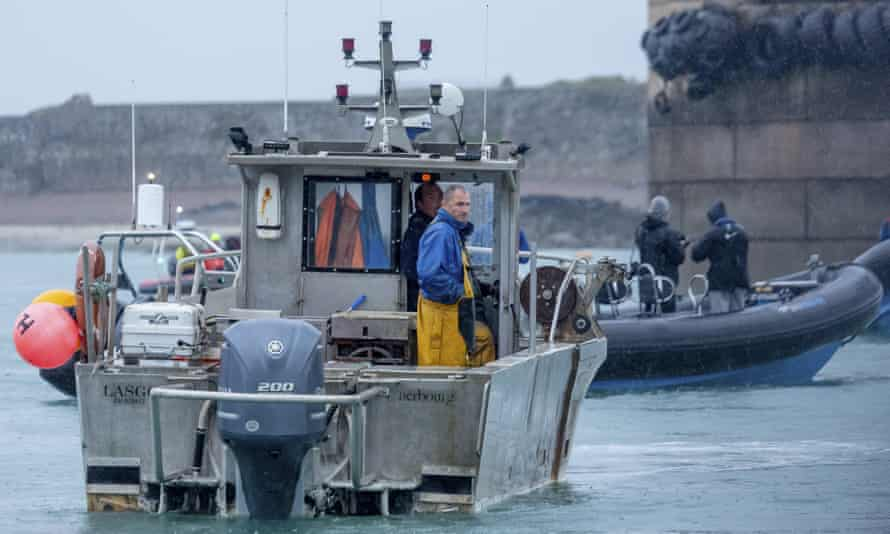 French fishing vessels block the port of St Helier in Jersey in a fishing dispute.