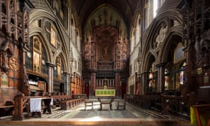 The interior and astonishing reredos of St Cuthberts, Earls Court.
