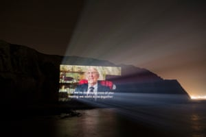A projection of second world war veteran Sid talking about Brexit on the White Cliffs of Dover.