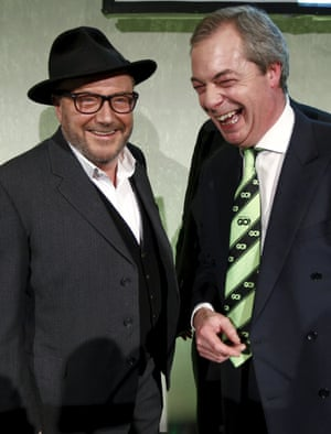 """George Galloway and Nigel Farage at a """"Grassroots Out"""" campaign event in London."""