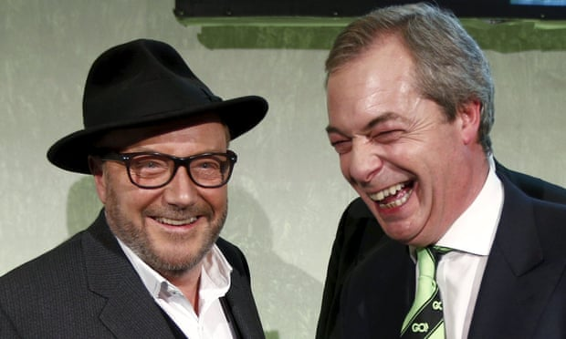 Nigel Farage and George Galloway attend the the Grassroots Out rally at the Queen Elizabeth II conference centre in London.