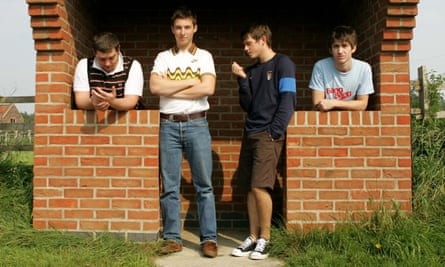 The Arctic Monkeys at South Thoresby, Lincolnshire, while recording there in 2005.