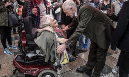 Jeremy Corbyn joins party members campaigning on housing in Clapham, south London.