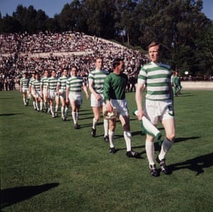 Billy McNeill leading out his Celtic team.for the 1967 European Cup final against Inter Milan in Lisbon