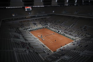 A wide view of center court Philippe Chatrier as Austria's Dominic Thiem plays Croatia's Marin Cilic in the first round.