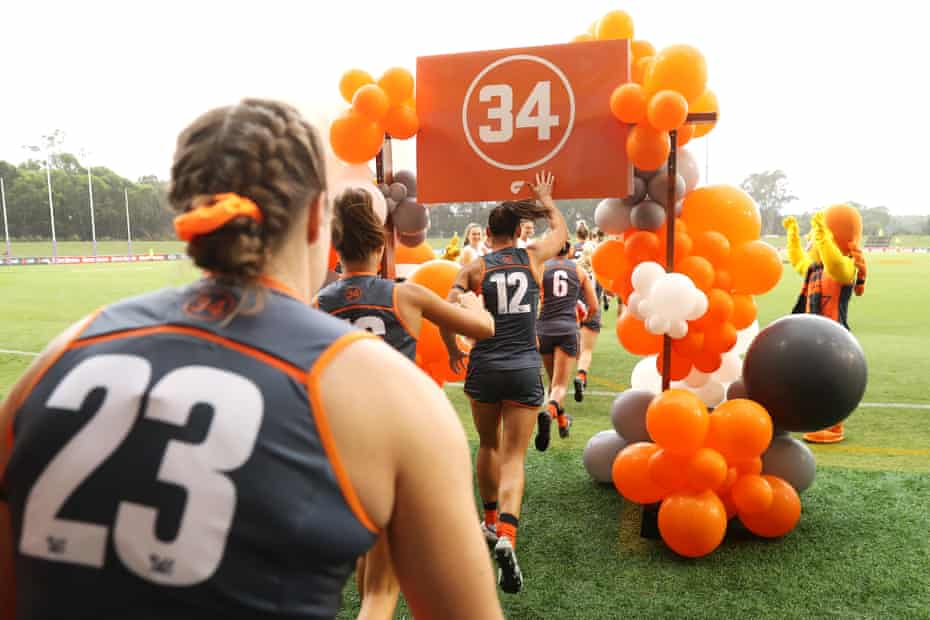 The Giants run out under No 34 in memory of Jacinda Barclay in February this year.