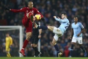 Silva fouls Fabinho.