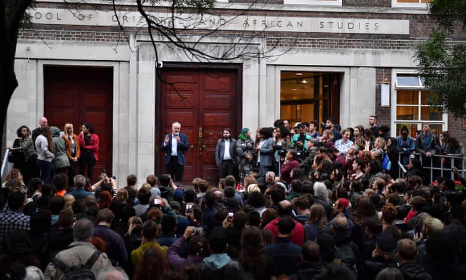 Jeremy Corbyn addresses a 'Keep Corbyn' rally at the School of Oriental and African Studies, London.