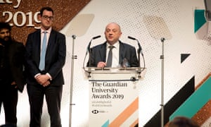 Vice-chancellor of Nottingham Trent University, Edward Peck, making a speech after his institution wins the inaugural university of the year award.