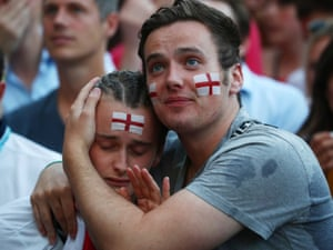 England fans look dejected after Croatia's first goal