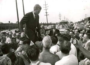 Senator John F Kennedy in front of the Warner Gear factory in 1960