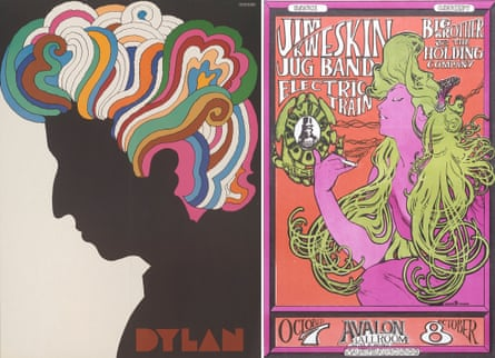 Dylan by Milton Glaser, 1967; a concert poster for the Avalon Ballroom, designed by Stanley 'Mouse' Miller and Alton Kelley.