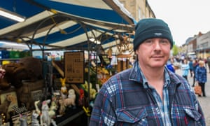 Mick Byrne on his market stall in Mansfield town centre. 'I think people have given up on enough of politics. Nothing ever seems to get done'.