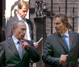 Vladimir Putin and Tony Blair in Downing Street in 2003.
