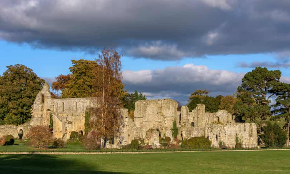 Sunset and blue sky at the ruins of Jervaulx Abbey.