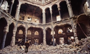 The National Library in Sarajevo, burned during the Balkan wars in 1992.